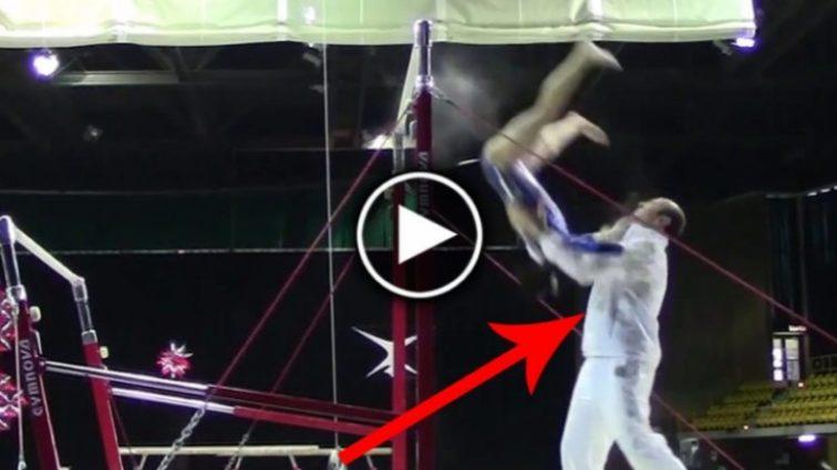 Тренер с молниеносной реакцией спас гимнастку от смерти (видео)