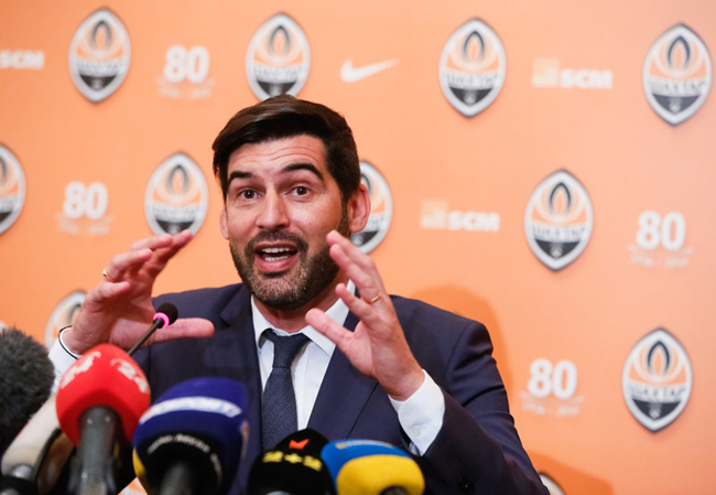 epa05339787 Portuguese coach Paulo Fonseca speaks during his presentation as new head coach of Shakhtar Donetsk at a press conference in Kiev, Ukraine, 01 June 2016. The 43 year-old coach has agreed a two-year contract and will replace Mircea Lucescu.  EPA/ROMAN PILIPEY
