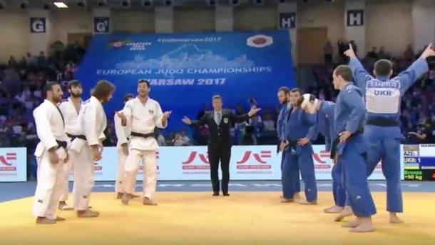 В скандальном противостоянии сборная Украины победила Азербайджан на чемпионате Европы по дзюдо