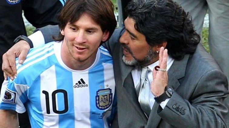 Легендарный аргентинец необычно сравнил Месси и Марадону